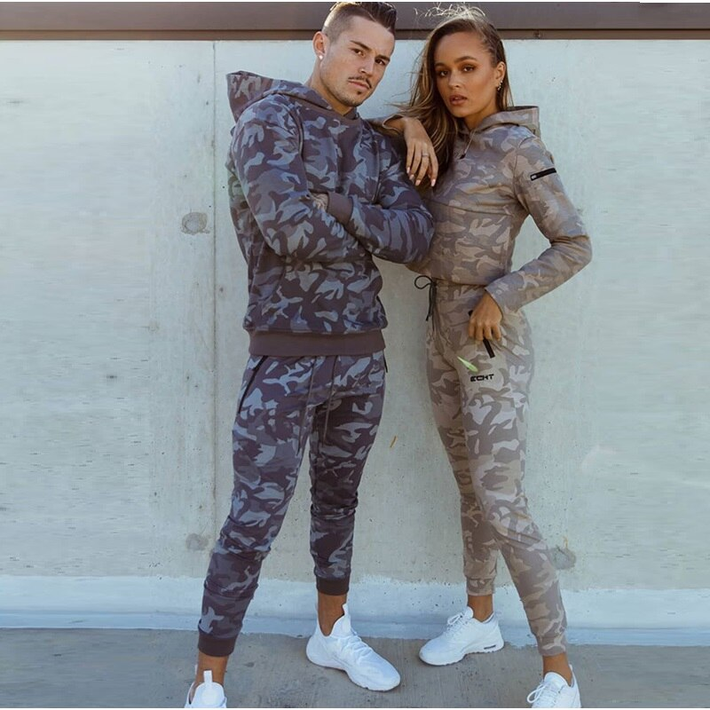 Sports suits Men/woman Set Brand Fitness Suits autumn Men Set Long Sleeve Camouflage Hoodies+Pants Gym Running Sportswear Suit