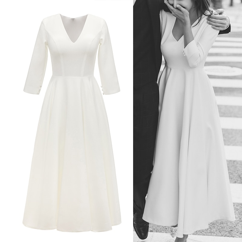Simple Satin Bridal Gown Ankle Length Wedding Party V Neck 3/4 Sleeves 2020 Cheap Plain Bridesmaid Gown Real Sample Photo 2059#