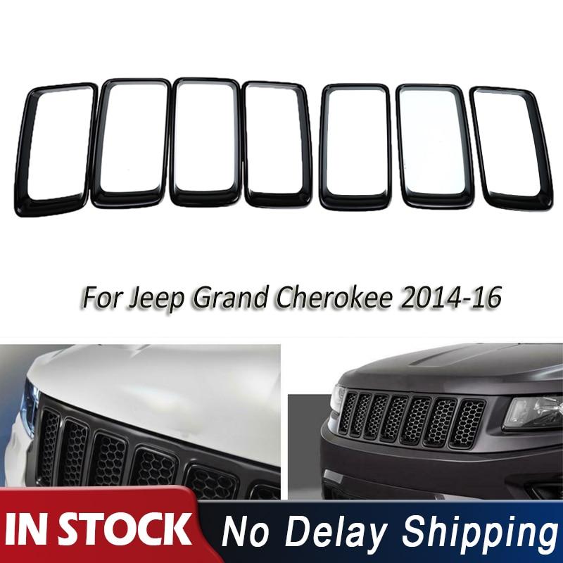 7 unids/set ABS pieza delantera rejillas de carreras de coches negro agujero de ventilación cubierta tipo anillo embellecedora para Jeep Grand Cherokee 2014 Up