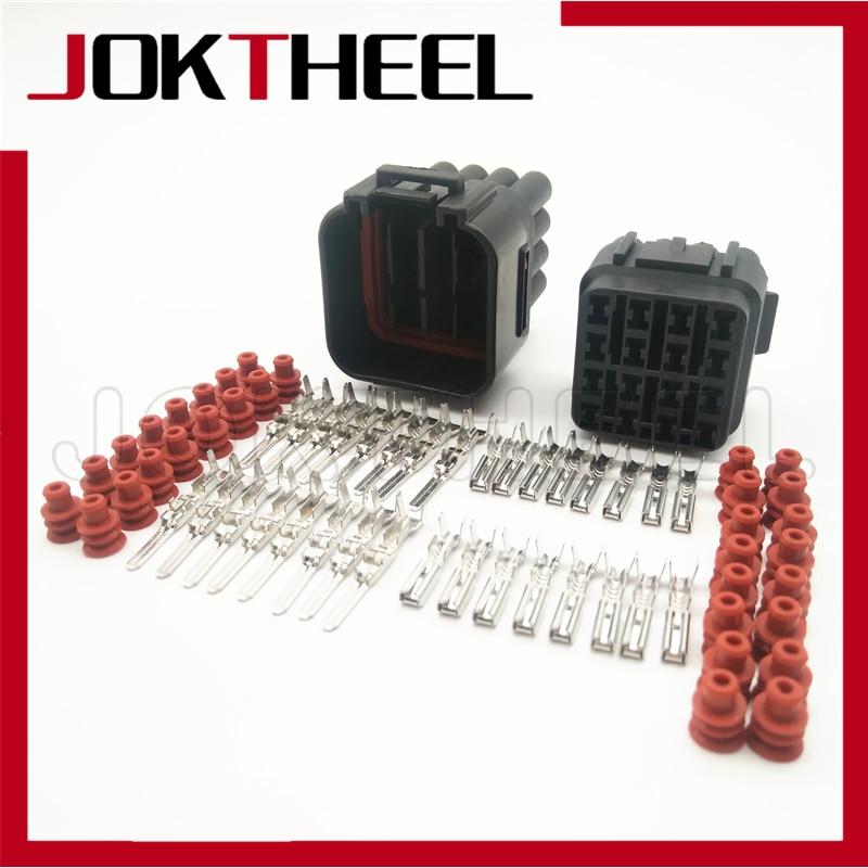 1/5/10/20 sets kit negro impermeable cable eléctrico auto sumitomo 16 pin way conector hembra macho 6188-0353 6085-0510