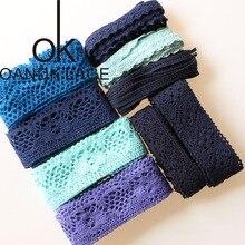 Nouveau 5 Yards bleu coton dentelle ruban à la main Patchwork Scrapbook artisanat pour bricolage vêtements accessoires de couture