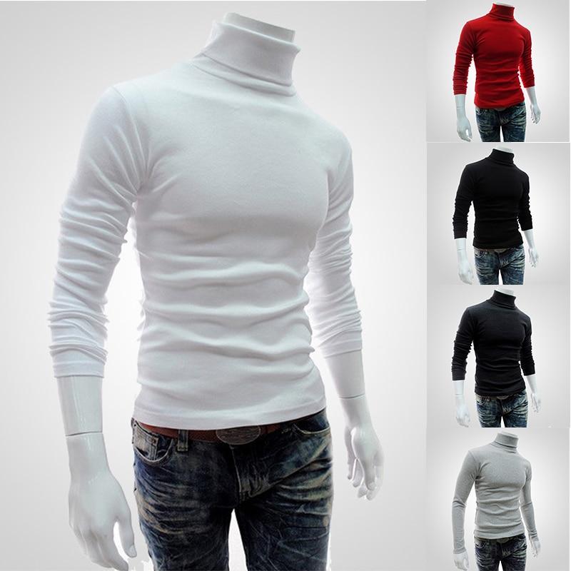 2020 camisola masculina primavera gola alta cor sólida casual camisola homme fino ajuste de malha pullovers algodão