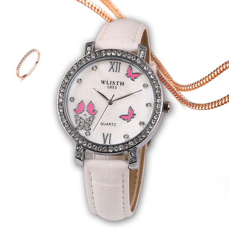 Elegant Simple Butterfly Design Dial Design Ladies Watches Women Fashion Luxury Dress Watch Casual Woman Quartz Leather Clock enlarge