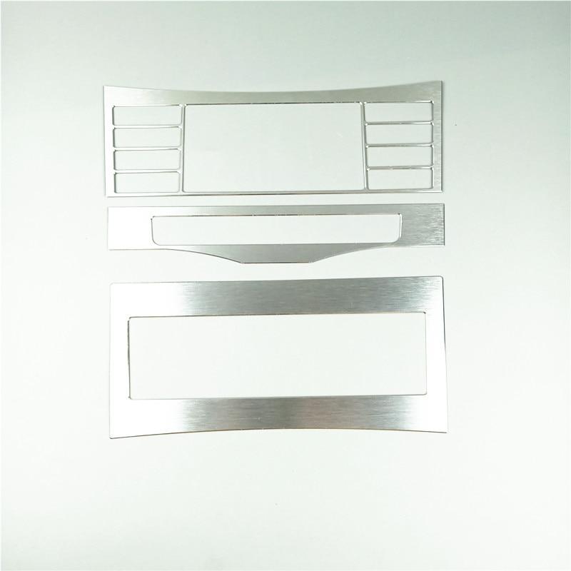 Consola Central, cubierta de marco decorativo CD para aire acondicionado, embellecedor de 3 uds. Para Mercedes Benz Clase E W212 2011-2015, aleación de aluminio