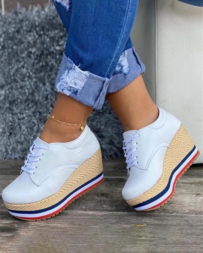 Zapatos de plataforma para Mujer, moda de lona, lona, cáñamo, gruesa, moda,...