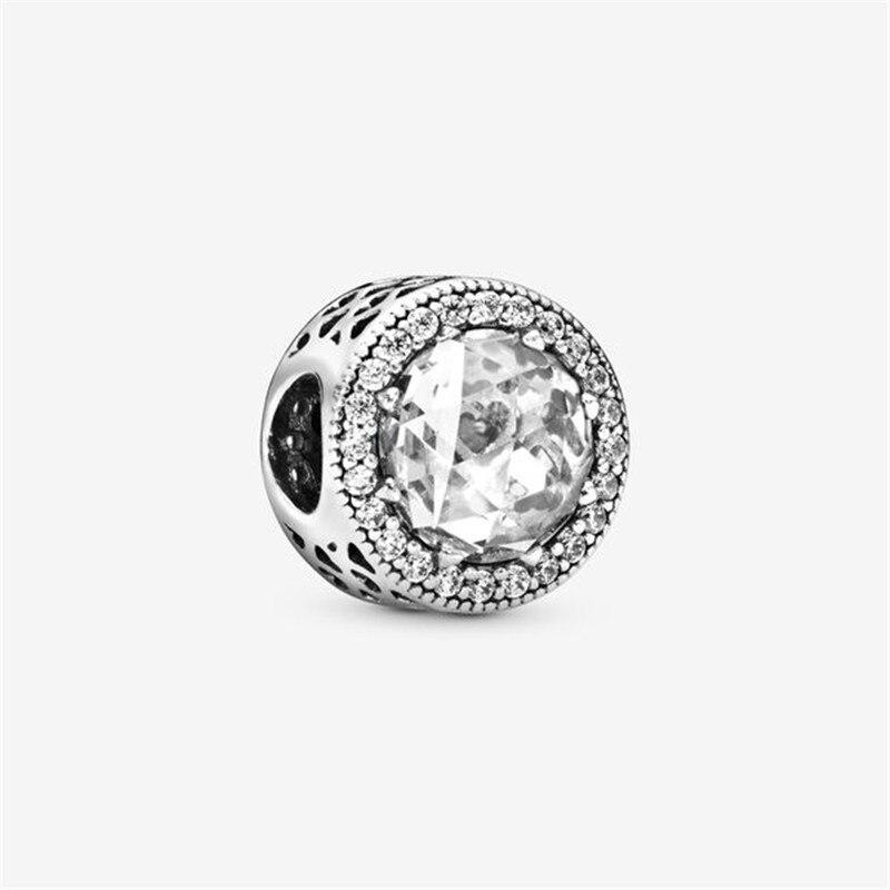 Abalorio transparente brillante de Plata de Ley 925 compatible con pulsera Pandora...
