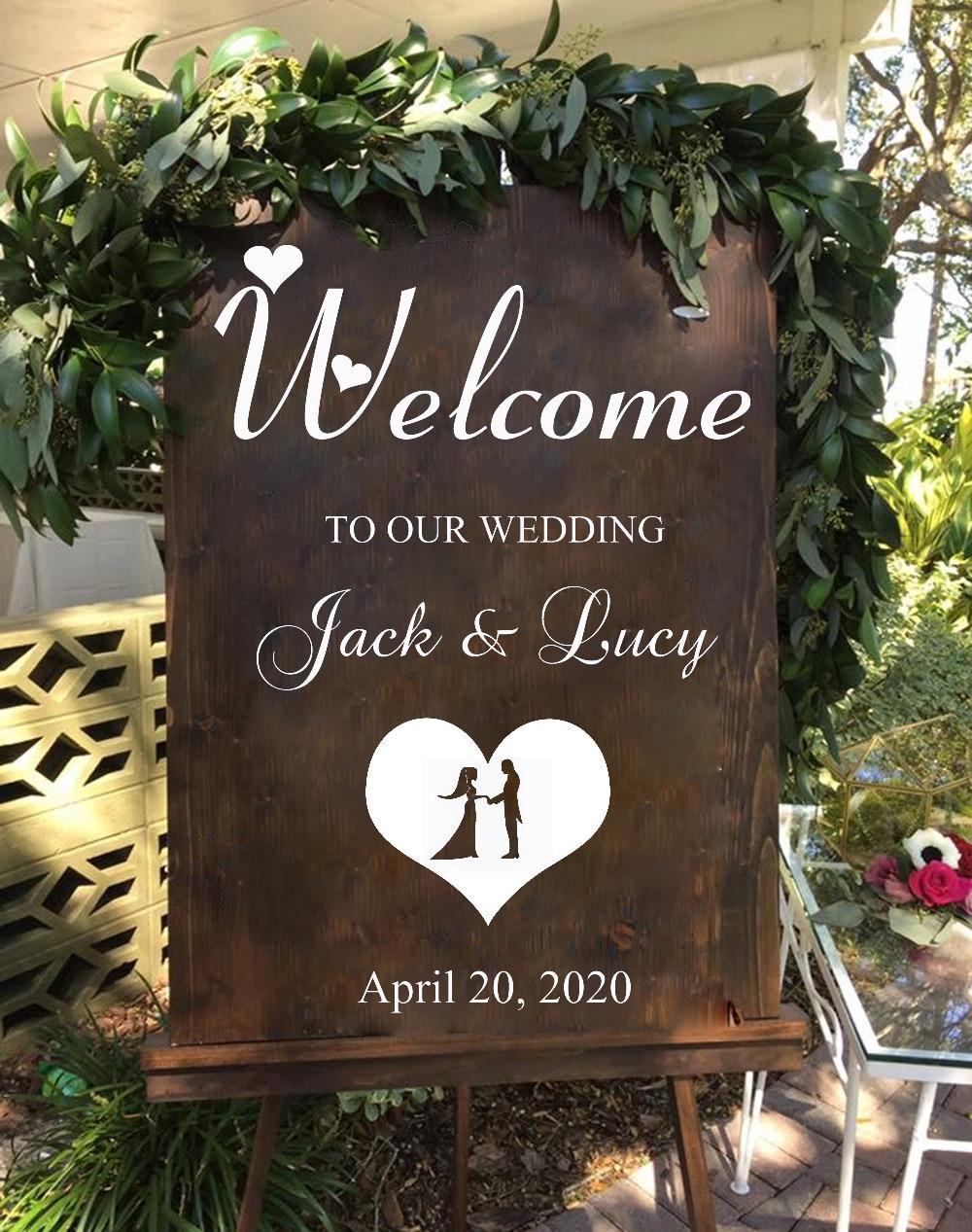 Decoración de boda bienvenida pared calcomanía DIY boda pegatina señal novia y novio nombres boda fecha personalizado vinilo calcomanías H6