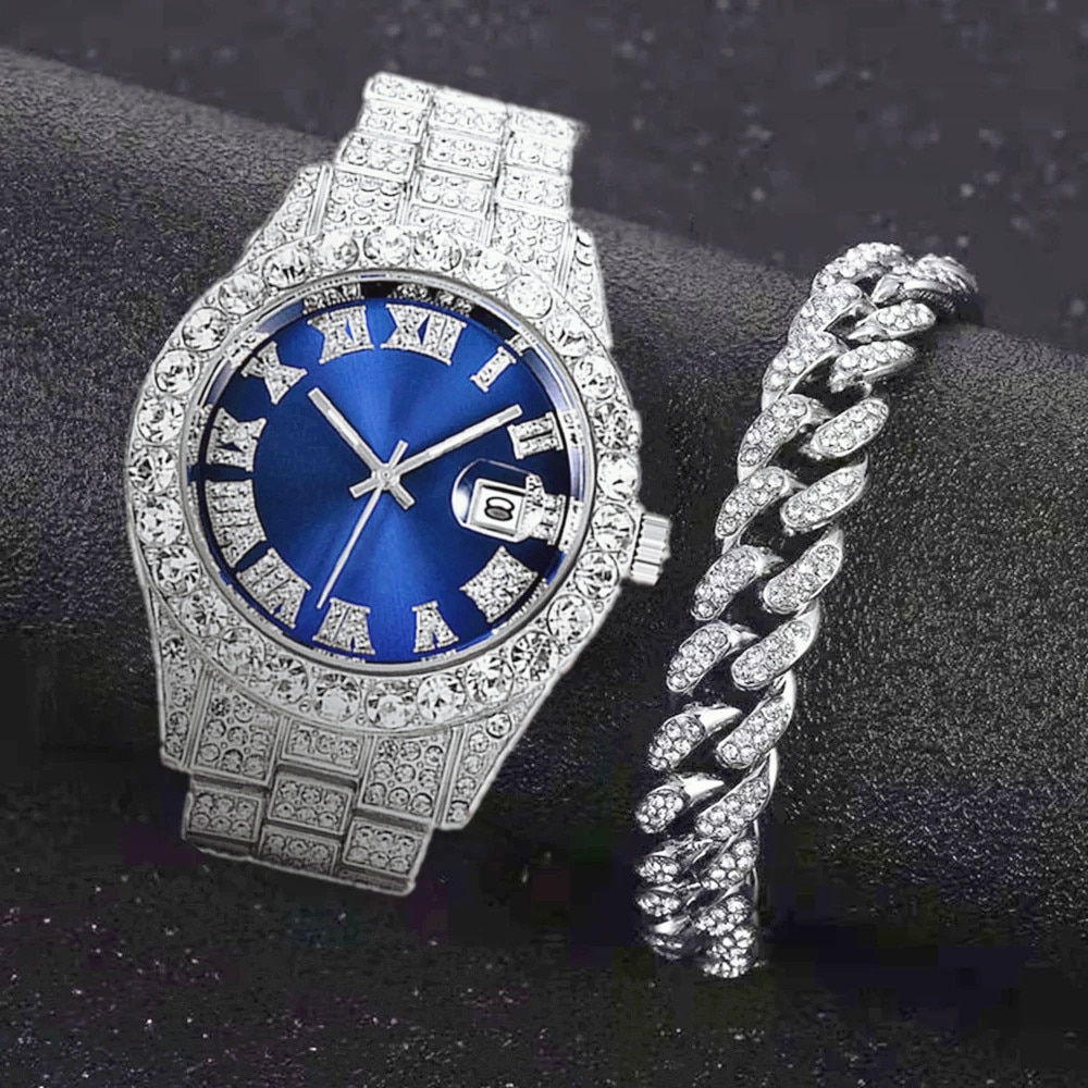 Full Iced Out Watch for Men Bling Miami Cuban Chain Bracelet Iced Out Watches Men Hip Hop Watch Luxury Gold Watch Women Relojes watch for women top brand luxury iced out watch diamond watch for men iced out cuban link chain necklace wristwatch man hiphop