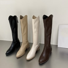 2021 Women Knee-High PU Leather Boots Fashion Zipper Pointed Toe Female Knight Short and Long Boots