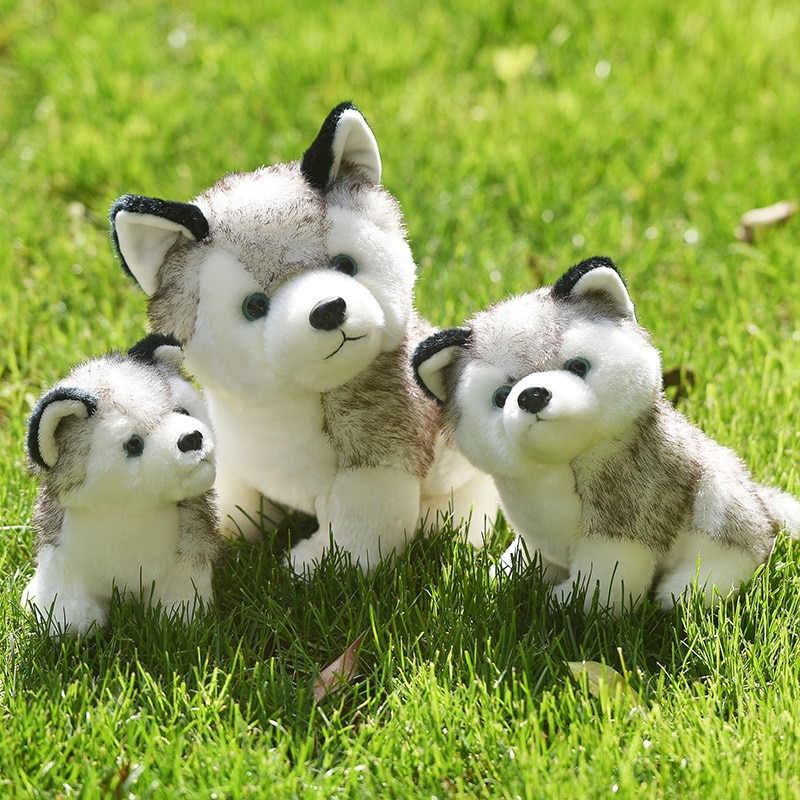 Kawaii Puppy Stuffed Toys Cute Simulation Husky Dog Plush Doll Kids Baby Dolls M068