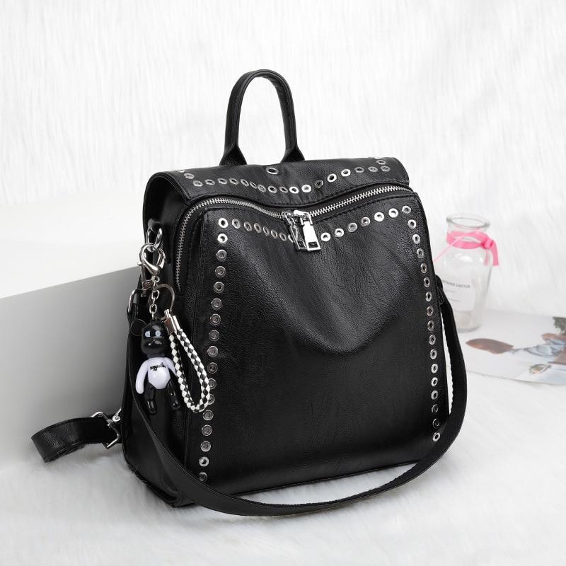 2020 New Women Genuine Leather Backpack Rivet Multifunctional Backpack Female Travel Bag Teenage Girls Fashion Schoolbag Mochila