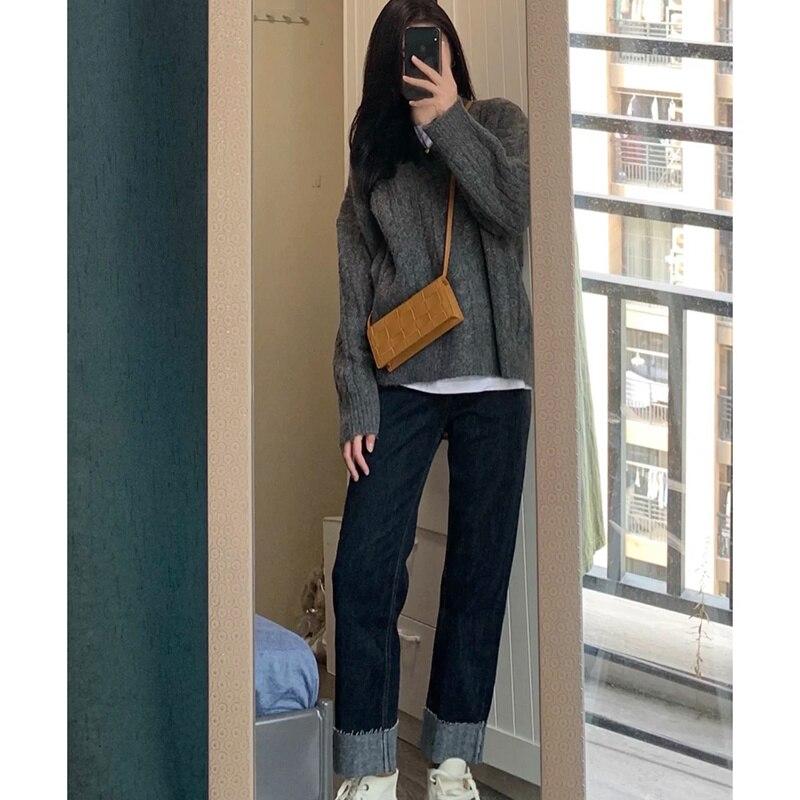 Women's Sets Oversized Sweater Jeans Two Women's Suits Korean Version Salt Sweet Net Red Easy To Wea