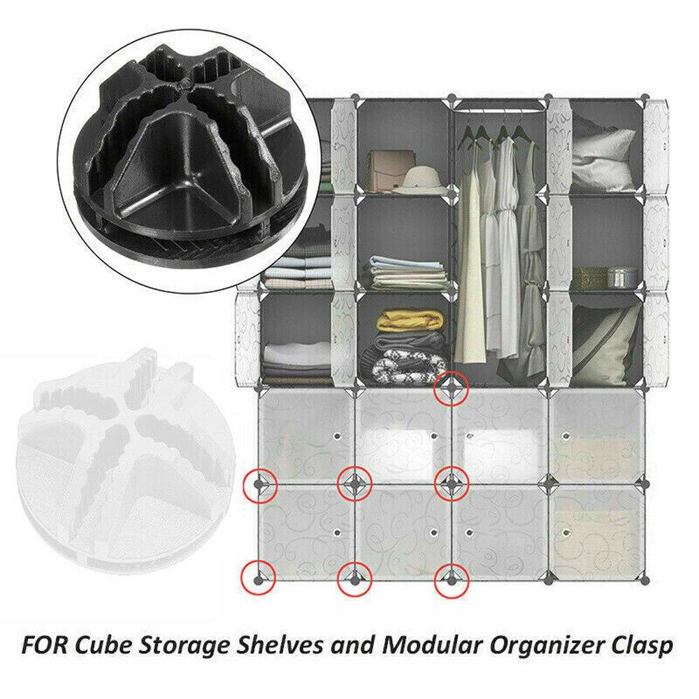 25# 20pcs Shelf Storage Cabinet Buckle Connectors Cube Diy Modular Closet Organizer Wardrobe Rack Clothes Shelf