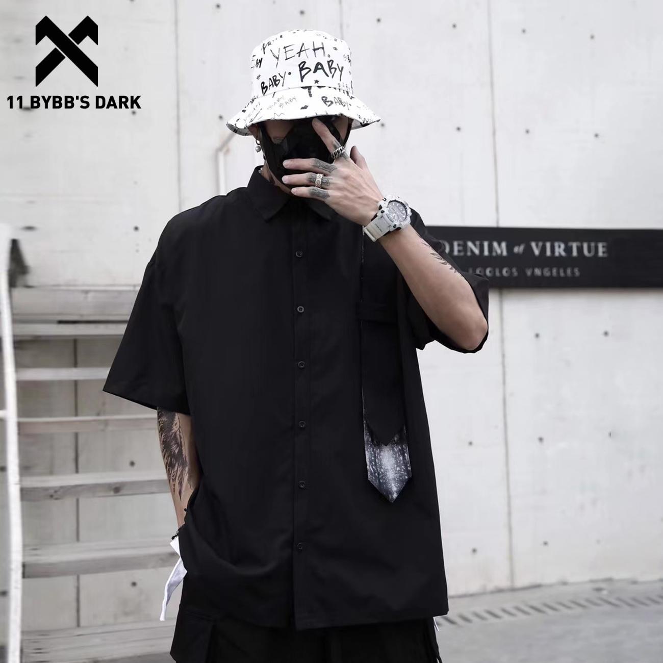 11 BYBB'S DARK 2021SS الإبداعية التعادل المرقعة Harajuku قمصان الرجال الصيف الشارع الشهير قميص القطن الداكن فضفاض قمصان قصيرة الأكمام