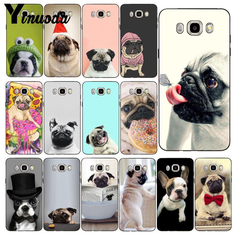 Yinuoda Animal Bonito Cão Pug Lendo Comer Caso de Telefone Macio Para Samsung Galaxy J7 J6 J8 J4 J4Plus J7 DUO j7NEO J2 J5 Prime