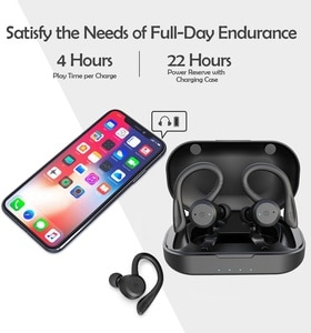 Wireless Earbuds Headphones Bluetooth Headphones in Ear IPX7 Waterproof Play Time with Charging Case for Running