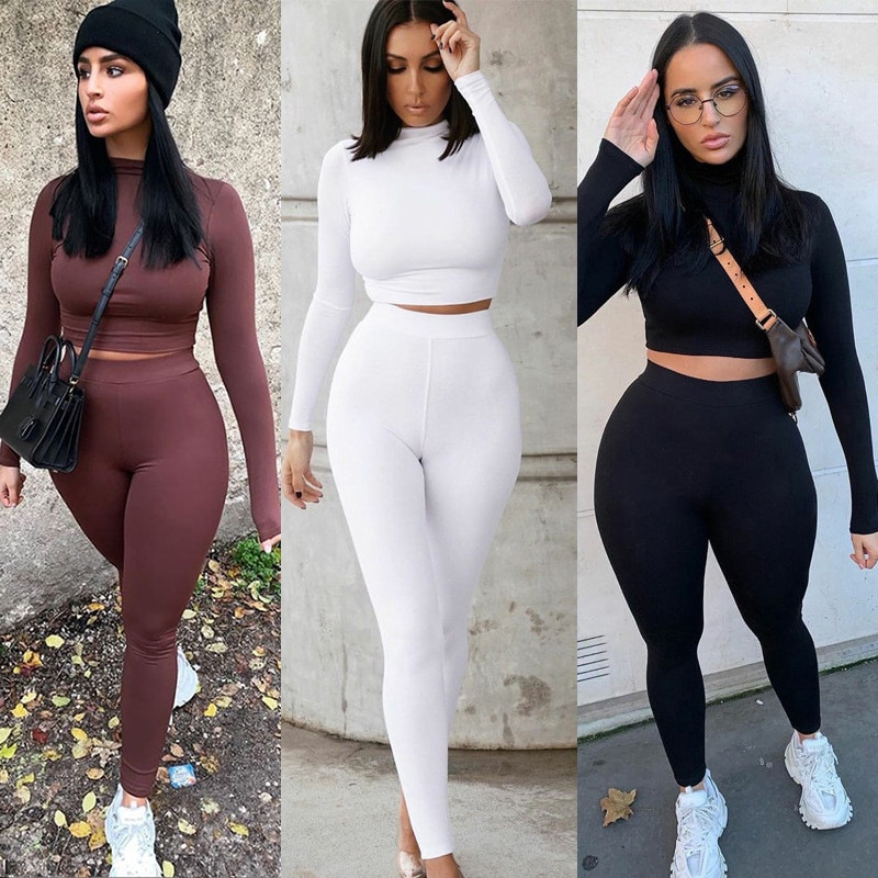Two Piece Sets Women Solid Autumn Tracksuits High Waist Stretchy Sportswear Hot Crop Tops And Leggin
