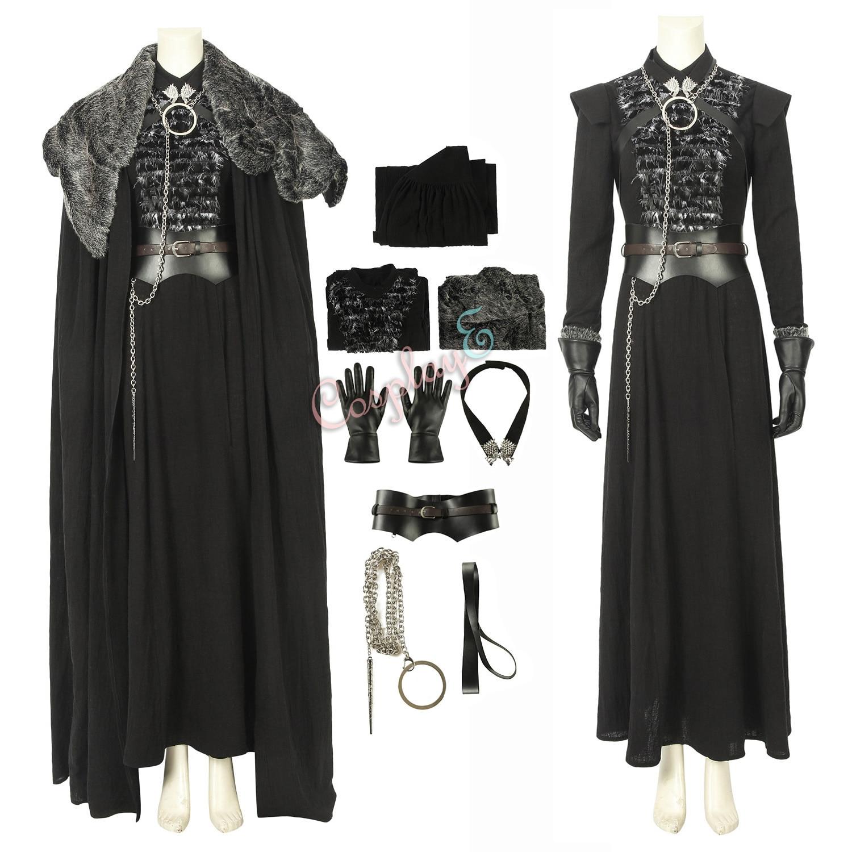 Disfraz de Sansa Stark, Juego de tronos, temporada 8, traje de Cosplay
