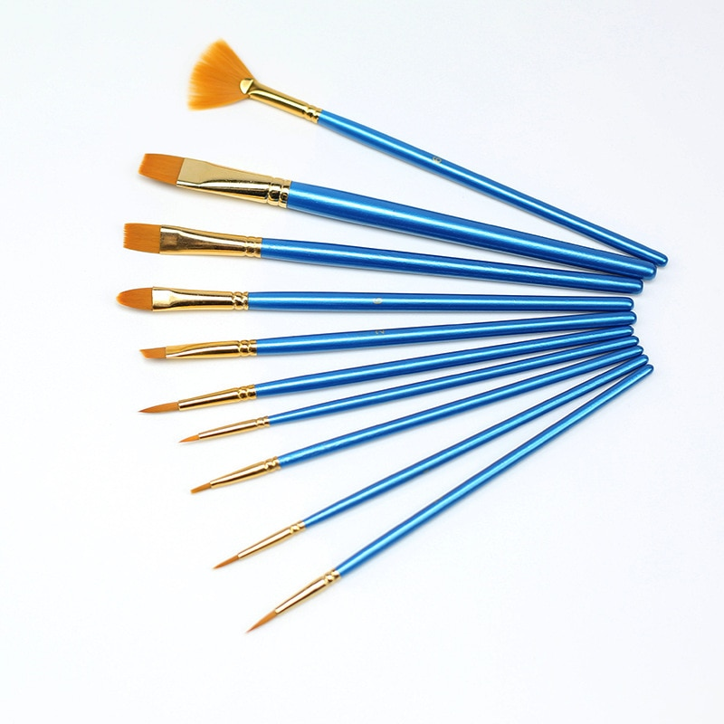 10pcs pack paint brushes set painting art brush for acrylic oil watercolor artist professional painting kits 10Pcs/set Nylon Artist Paint Brush Professional Watercolor Acrylic Wooden Handle Painting Brushes Art Supplies Stationery