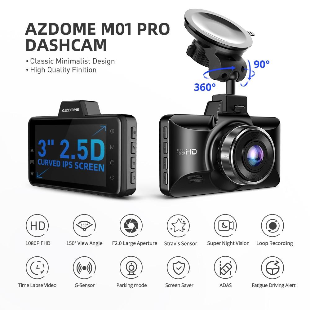 AZDOME M01 Pro FHD 1080P Dash Cam 3 Inch DVR Car Driving Recorder Night Vision, Park Monitor, G-Sensor, Loop Recording for Uber