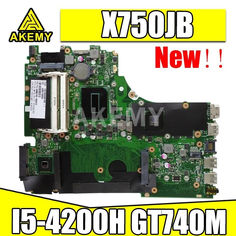 Akmey X750JB placa base para For Asus X750 X750J X750JN K750JB K750JN placa base de computadora portátil I5-4200H GT740M pruebas 100% original