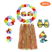 Lunettes de Barbecue à fleurs 8 pièces   Costume fête jardin plage, Clip de cheveux, ensemble pour danse, Festival Luau, jupe hawaïenne dété tropicale