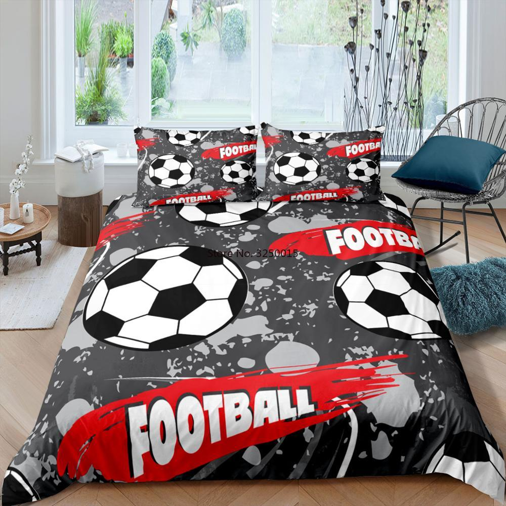 ثلاثية الأبعاد لكرة القدم حاف الغطاء كرة القدم كرة القدم الفراش مجموعات Edredon Futbol واحدة مطبوعة الفاخرة الصبي الأطفال يغطي غطاء السرير