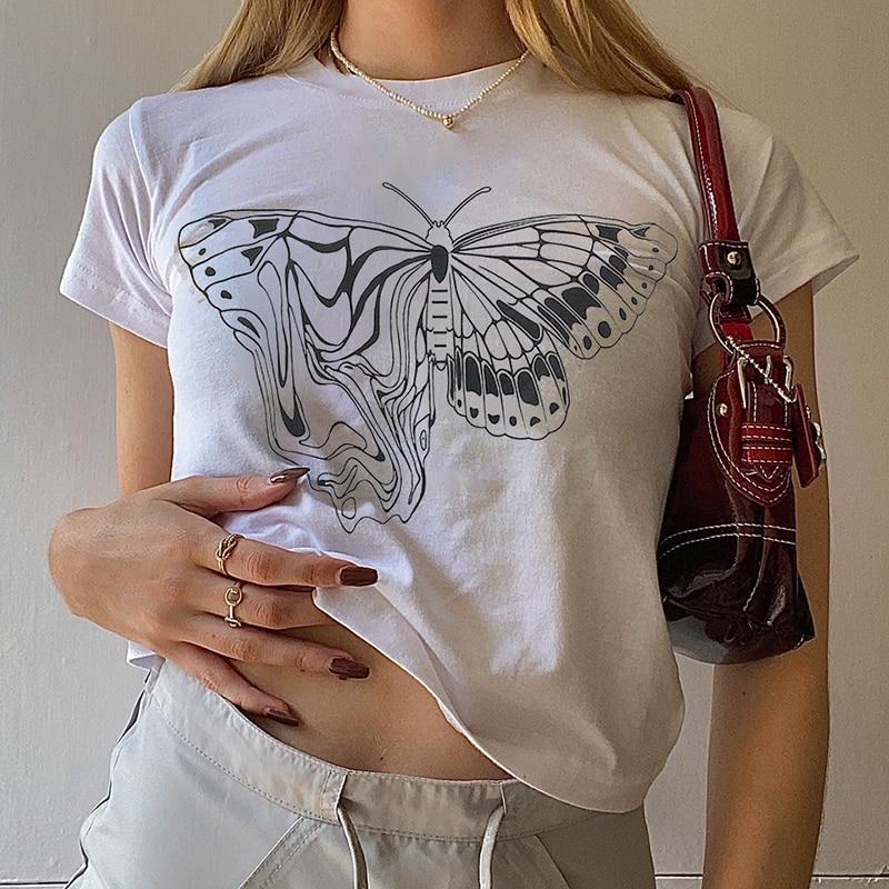 planet print crop tee 2000s vintage short-sleeved T-shirt y2k aesthetic butterfly graphic print  slim crop top women's streetwear Harajuku basic Tee