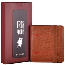 TRG POLO 27424 REAL LEATHER MEN'S WALLET TAN WITH COLOR CARD HOLDER
