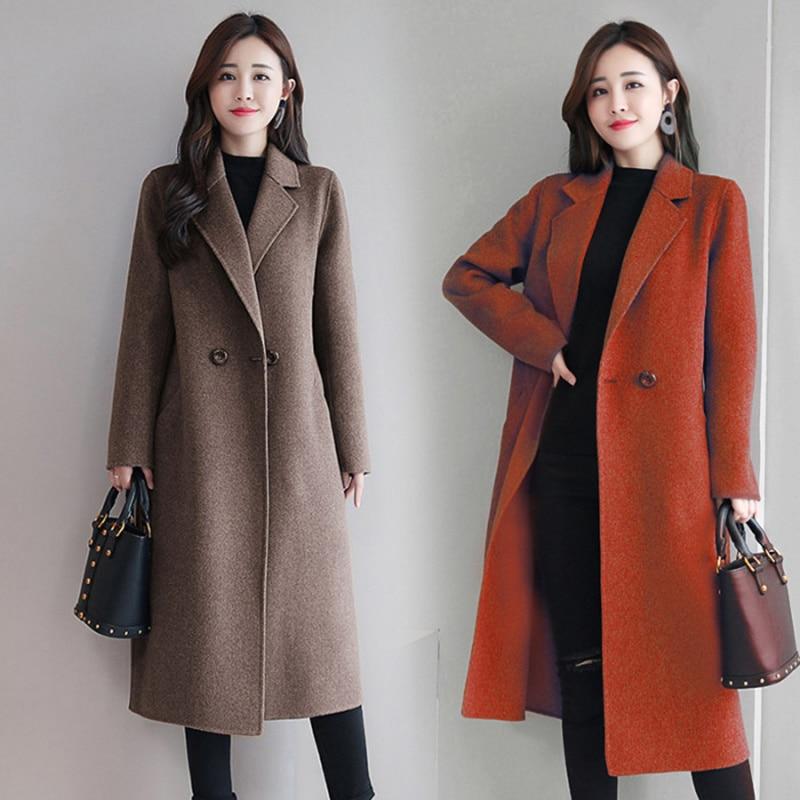 مكتب سيدة سليم 2021 موضة جديدة غزل الصوف النساء المدرسة الثانوية طويلة الركبة ارتفاع الشتاء الكورية الذيل حزمة الصوف الستر