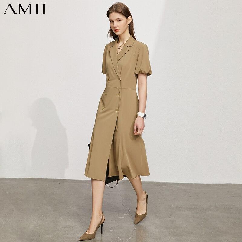 Amii بساطتها الصيف المرأة الجديدة فستان بتصميم بدلة سيدة الرسمية الصلبة Vneck نفخة كم ألين موضة فستان صيفي للنساء 12140178