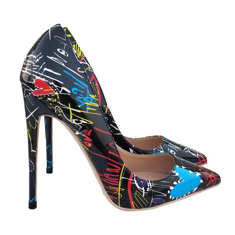 Zapatos grafiti negros de tacón alto de 12 cm 10 cm 8cm, zapatos de tacón sexis con luz puntiaguda, zapatos de fiesta de talla grande 43