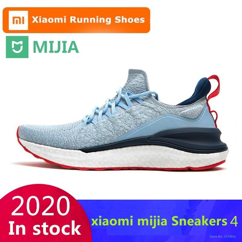 حذاء شاومي مي جيا الرياضي 4 الأصلي للرياضة في الهواء الطلق للرجال نظام قفل هيكل السمكة 4D نظام حياكة حذاء جري رجالي علوي