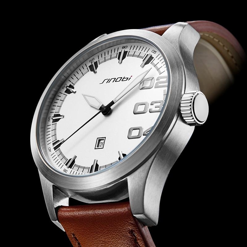 Relojes SINOBI para Hombre, reloj de negocios análogo, moda de acero inoxidable, deportes 50M, reloj luminoso resistente al agua, Relojes de baño para Hombre