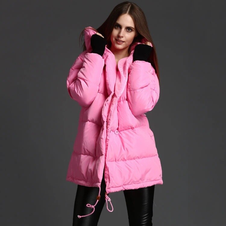 Women down coats luxury autumn winter warm fashion 90% white duck down Jackets Female lady long puffer hooded casual pink cocoon