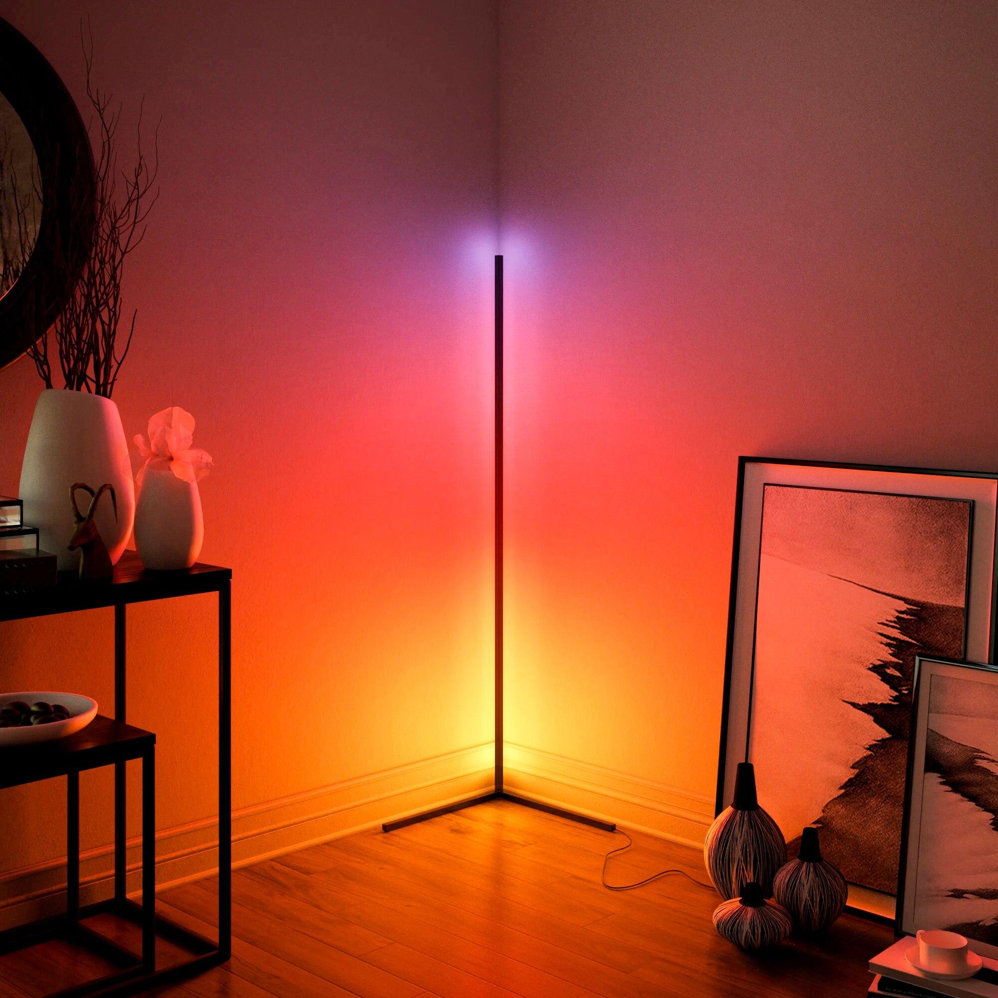 Nórdicos esquina lámpara LED de pie brillante Luz de suelo atmósfera Interior lámpara colorido dormitorio habitación decorativo lámpara de pie