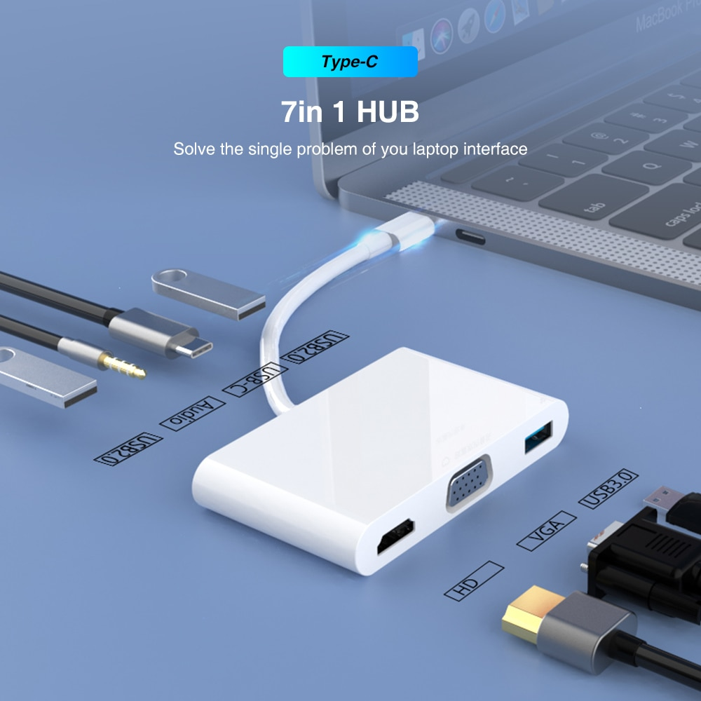 PP7A 7 في 1 نوع C Hub 4K 1080P HDMI-متوافق + VGA PD 5Gbps USB Hub دعم 3.5 مللي متر إخراج الصوت لأجهزة الكمبيوتر الهاتف أندرويد