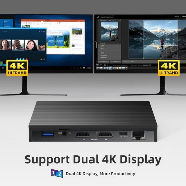 MeLE Fanless 4K Mini PC Intel Celeron J4125 Quad Core 8GB 128GB Windows 10 Desktop Computer Dual HDMI 2.4G/5G Dual-band WiFi SSD 4