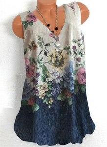 Women T-shirt Fashion V-neck T-shirt Loose Sleeveless Printed Top Casual Large Size Streetwear Women Top