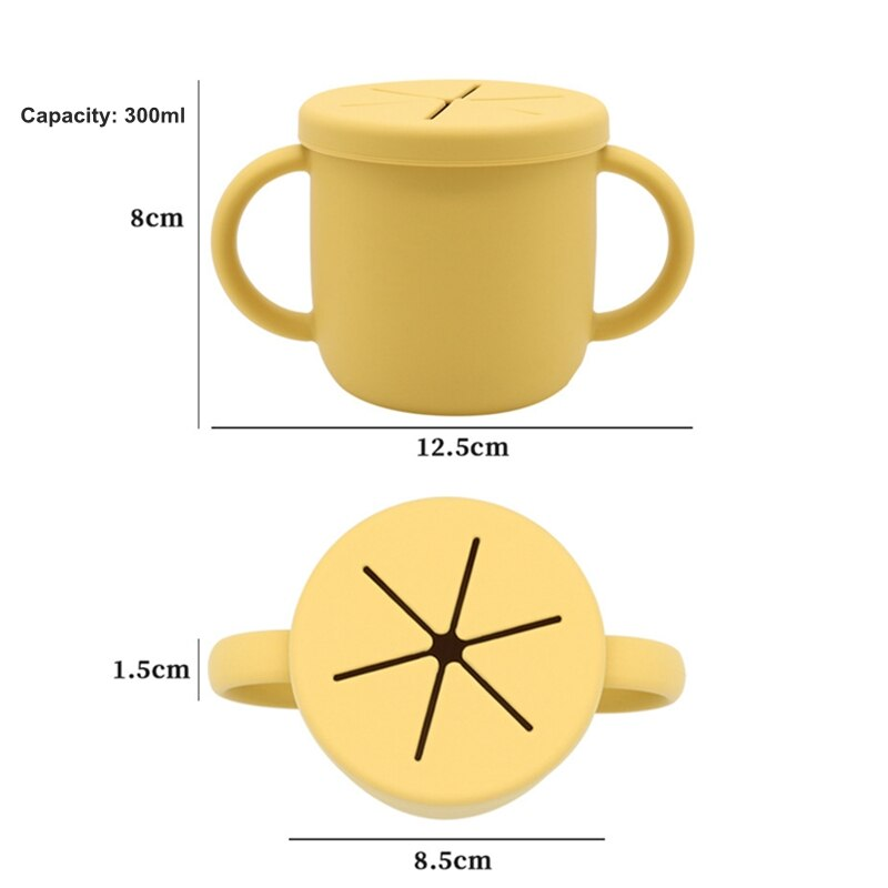 10Pcs Food Grade Silicone Baby Snack Cup Feeding Training Anti-Fall Anti-Sprinkle Portable Baby Drinking Cup with Double Handle enlarge