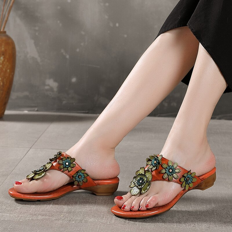 Handmade Flowers Flip Flops Wild Lazy Slippers Women 2021 Summer Ladies Sandals and Slippers Leather