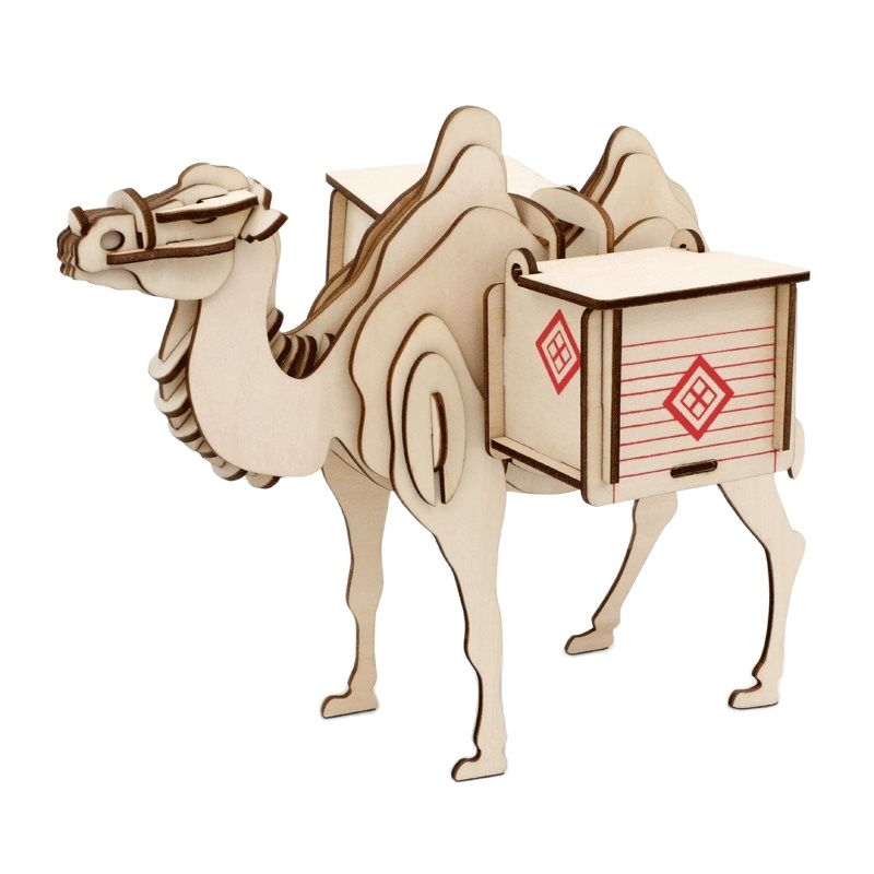 DIY Kids 3D Wooden Puzzles Camel Animal Model Assembling Building Kits Educational Toys for Children with 46pcs Parts diy popular 3d 8 planets science solar system model children assembling toys for kids educational children toys