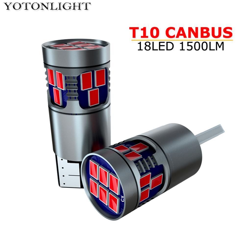 1 Pcs W5W Led T10 Canbus 5W 18 SMD Car Bulb Interior Light 194 168 Led Lamp 1500lm White Red Amber Blue Pink Ice-blue DC12V