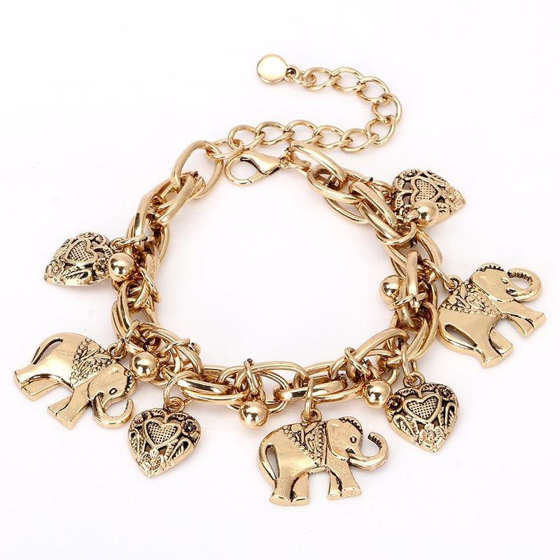 Elephant Pendant Anklets for Women 2019 Vintage Animal Beads Charm Bracelet Ankle Bracelets Feet Jewelry Foot Accessories
