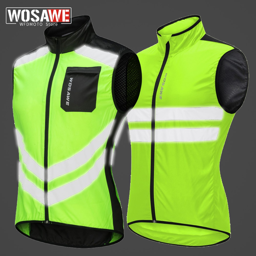 WOSAWE Motorcycle Reflective Vest High Visibility Motocross Riding Off-Road Bicycle Windbreaker Running Sports Jacket