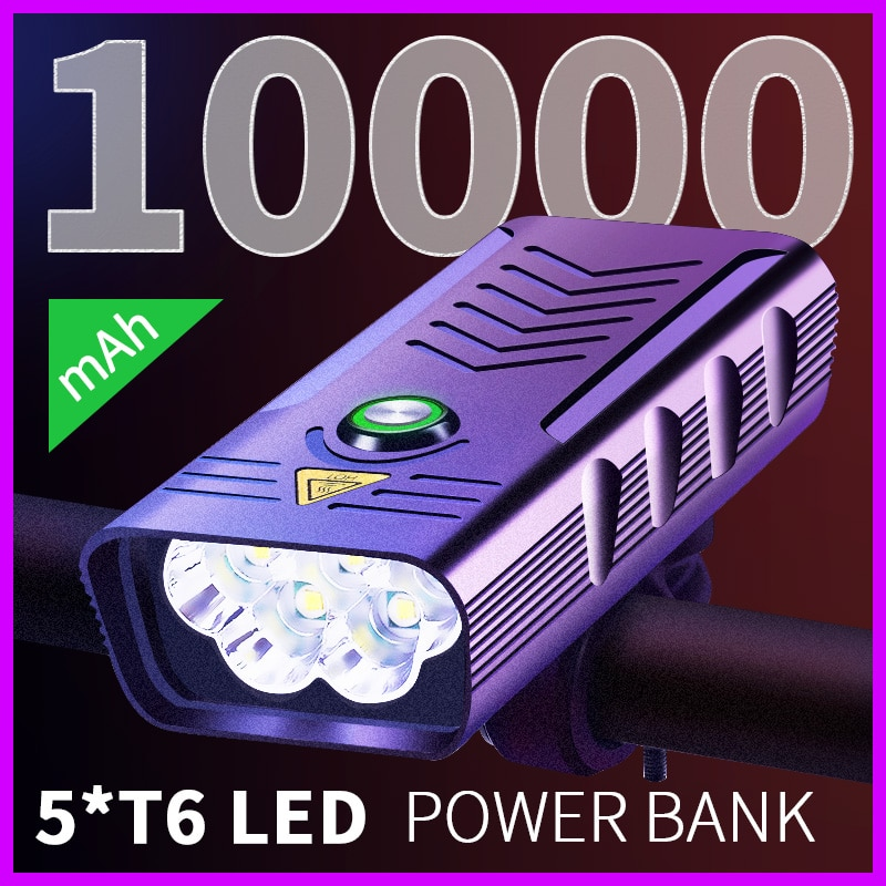 10000mAh إضاءة دراجة هوائية USB قابلة للشحن 5 * T6 مصباح ليد جيب للدراجات الخفيفة الجبهة الدراجات الجبلية الطريق العلوي الألومنيوم مقاوم للماء