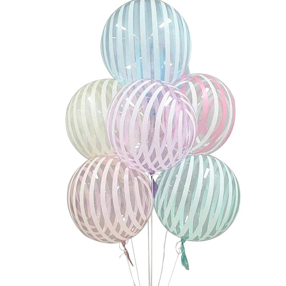 Купить с кэшбэком 2pcs Crystal Striped Bubble balloons 18 inch Transparent Bobo Globos For Wedding Baby Shower Happy Birthday Decoration New Year