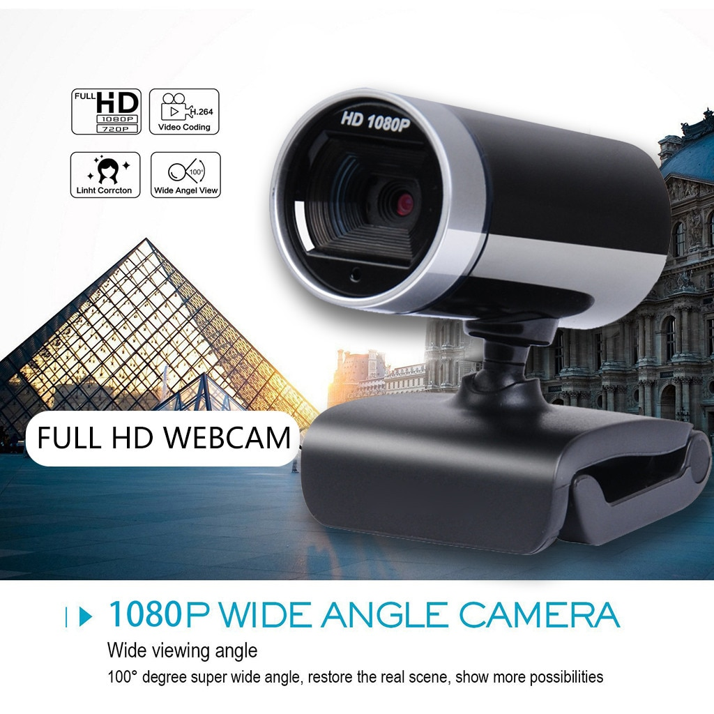 Webcam, USB 1080P, cámara Web de alta definición, 360 grados, micrófono con Clip para Skype, ordenador con micrófono, PC, portátil, tienda directa