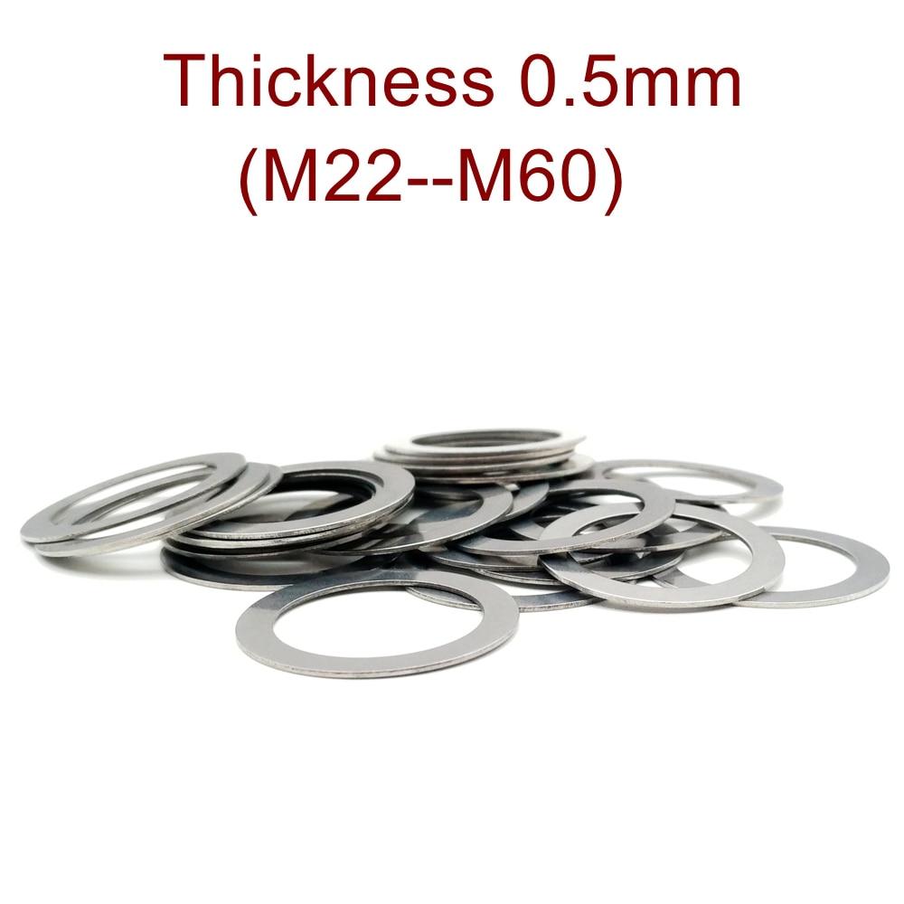 سمك 0.5 مللي متر M20-M60 الفولاذ المقاوم للصدأ شقة غسالة جدا رقيقة طوقا عالية الدقة ضبط طوقا رقيقة شيم SUS304