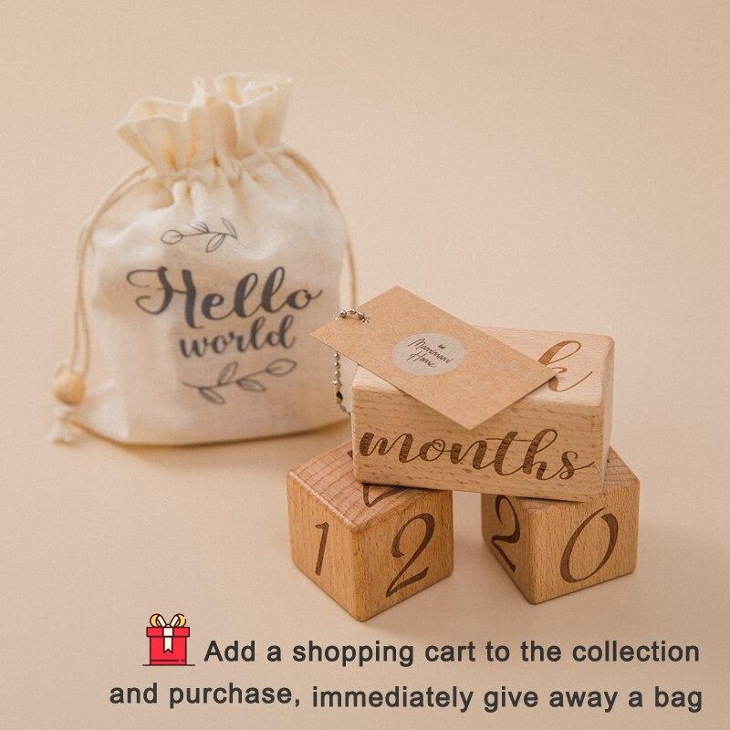 3pcs/set Handmade Baby Milestone Cards Square Engraved Wood Infants Bathing Gift Newborn Photography Calendar Photo Accessories